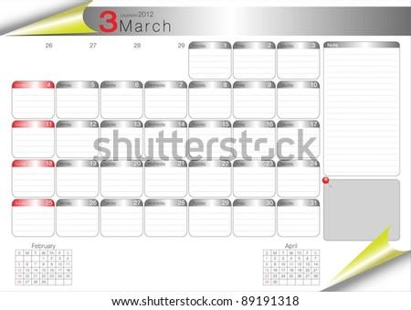 Vector Calendar Table 2012 March - stock vector