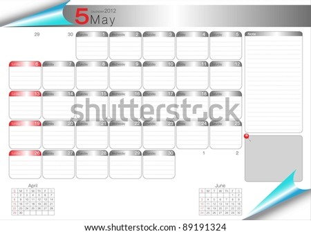 Vector Calendar Table 2012 May - stock vector