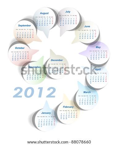 Vector calendar (week starts on Monday) - stock vector