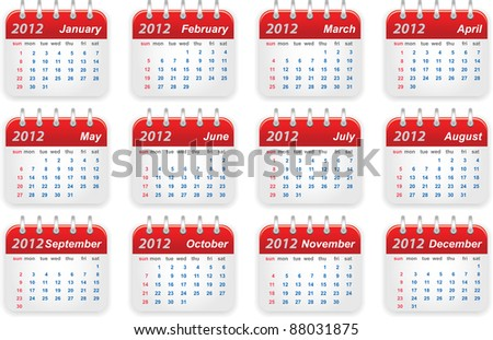 Vector calendar (week starts on Sunday) - stock vector