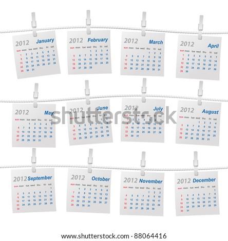 Vector calendar 2012 (week starts on Sunday) - stock vector