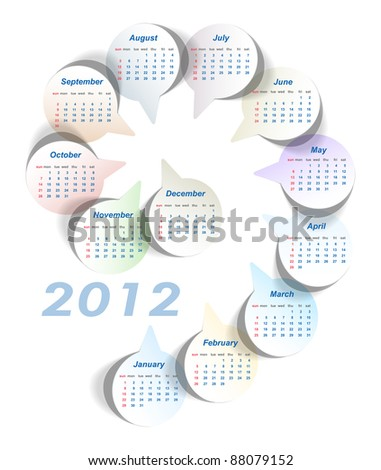 Vector calendar 2012 (week starts on Sunday) - stock vector