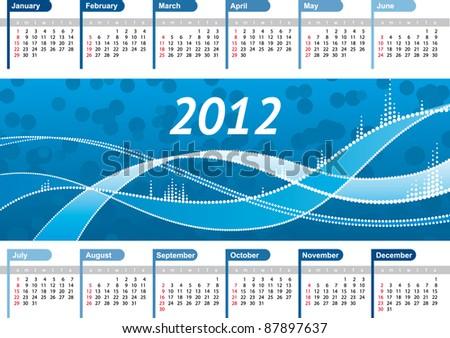 Vector Calendar 2012 with blue winter background - stock vector