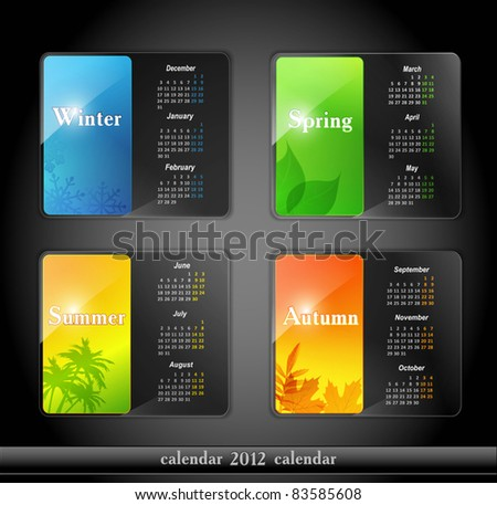 vector calendar 2012, with four seasons - stock vector