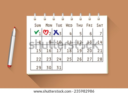 Vector calendar with handwritten notes - check, heart and cross, you can change the size and color as you need - stock vector
