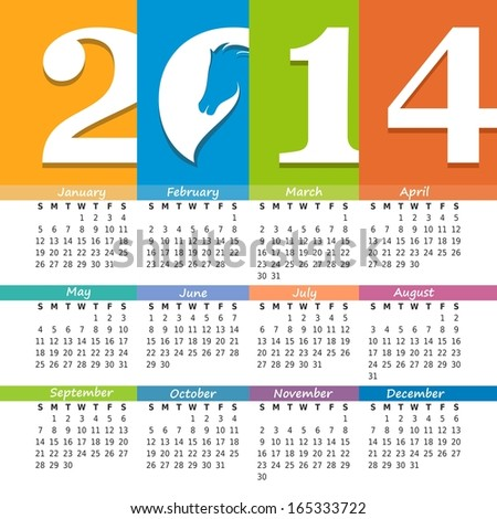 Vector calendar 2014 with the symbol of the new year - stock vector