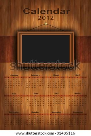 vector 2012 calendar wood, photo frame for your photos, for print - stock vector
