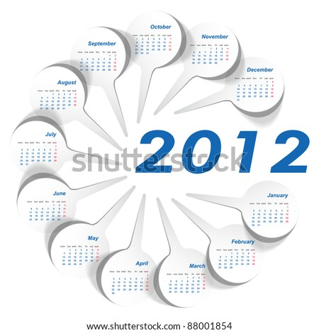 Vector calendar 2012 year with stickers