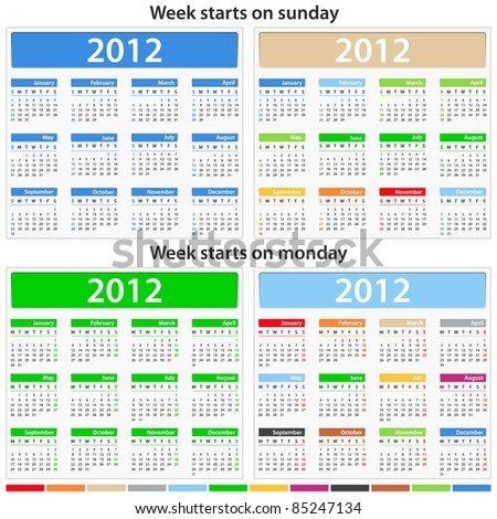 Vector calendars for 2012 year - stock vector