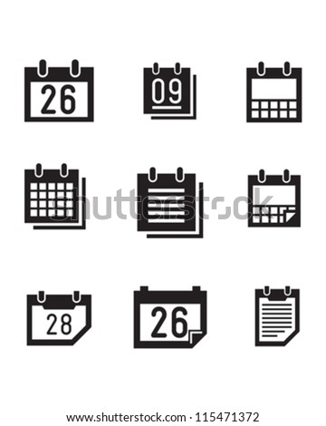 Vector calender symbols and icons. - stock vector