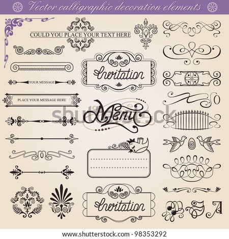 Vector calligraphic decoration elements set,  vintage inspirated to embellish your layout. - stock vector