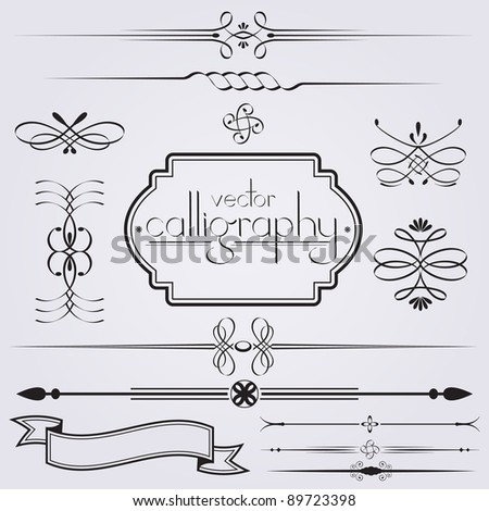 Vector calligraphic design element set - stock vector