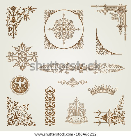 Vector calligraphic elements and decoration - stock vector