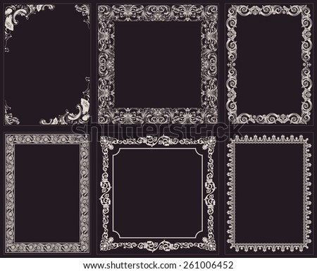 Vector calligraphic frames set. Baroque ornament and vintage black border - stock vector