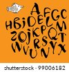 Vector calligraphy alphabet on a orange background / Calligraphy alphabet - stock vector