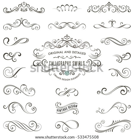 Vector Calligraphy Swirls Swashes Ornate Motifs Stock Vector 533475508 - Shutterstock