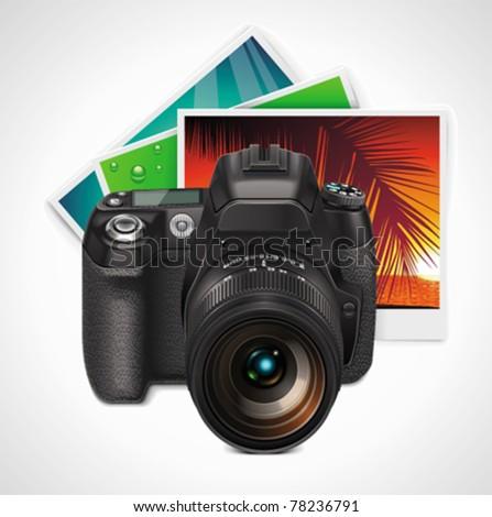 Vector camera and photos XXL icon - stock vector