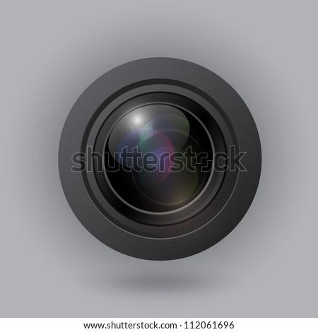 Vector camera lens - stock vector