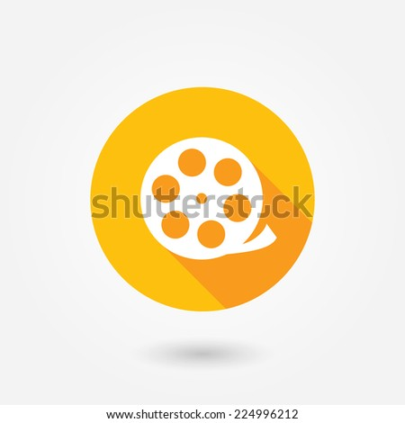 Vector camera web icon in circle. Flat design style with long shadow - stock vector