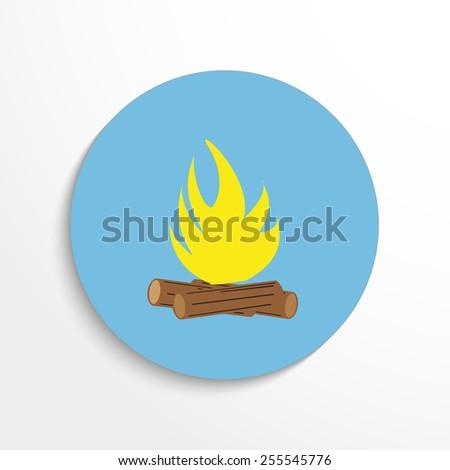 Vector campfire web flat icon - stock vector