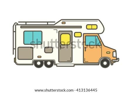 vector camping car caravan truck icon varastovektori. Black Bedroom Furniture Sets. Home Design Ideas