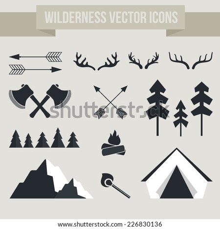 Vector camping elements - campfire, tent, antlers, arrows, forest, mountain, matches. Outdoor activity symbols.  - stock vector