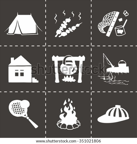 Vector Camping icon set on black background