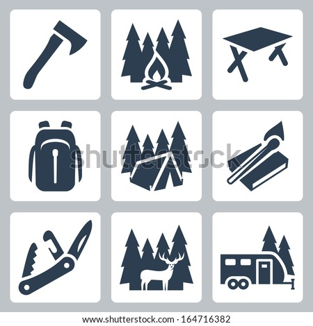 Vector camping icons set: axe, campfire, camping table, backpack, tent, matches, folding knife, deer, camping trailer - stock vector