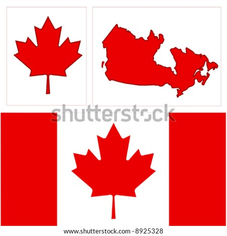 Vector Canada design is in easy edit layers.Canada's icon the red maple leaf, Canadian Flag, and a map of Canada!