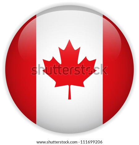 Vector - Canada Flag Glossy Button - stock vector