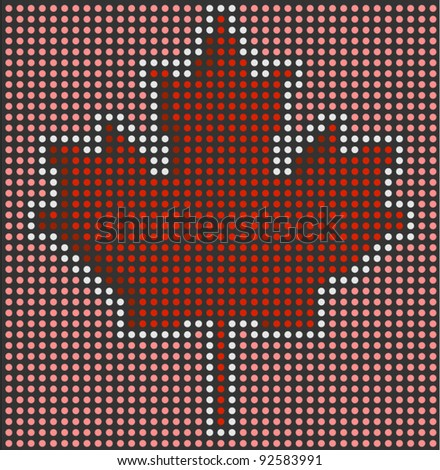 vector canadian maple leaf made of dots