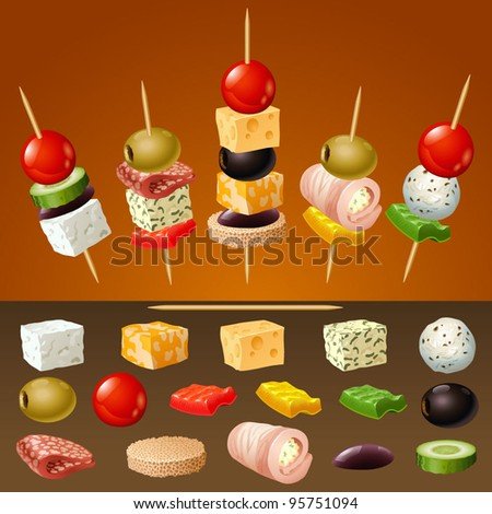 vector canapes - stock vector