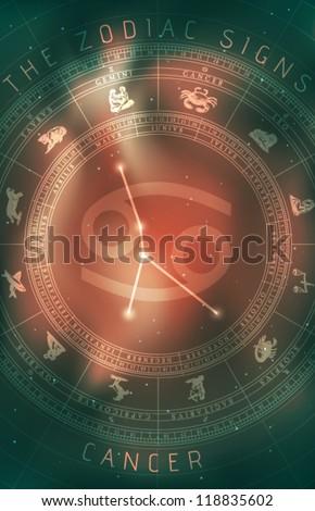Vector Cancer Zodiac Sign - stock vector