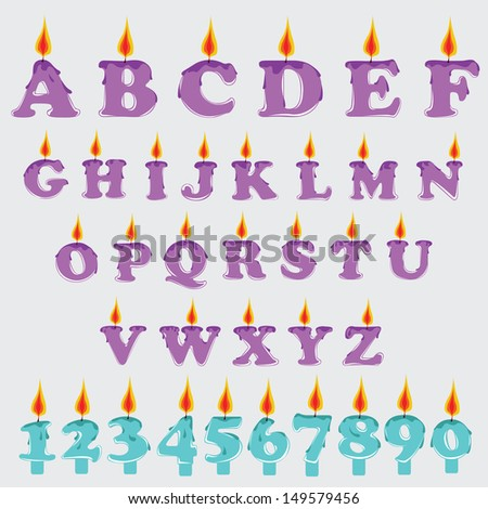 Vector Candle Graphic Alphabet Set - stock vector