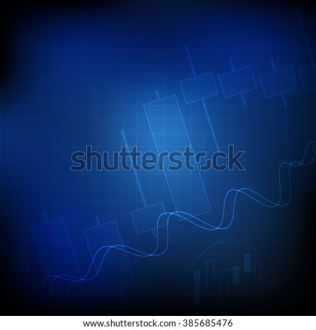 Vector : Candle stick graph and line graph on blue grid background - stock vector
