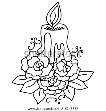 Vector Candle Flowers Coloring Stock Vector 215343862 - Shutterstock