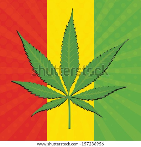 Vector cannabis leaf and flag of Ethiopia in background - stock vector
