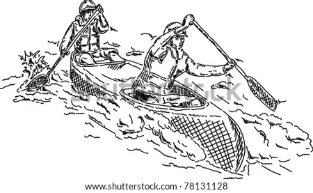 vector - canoeists paddling through white water