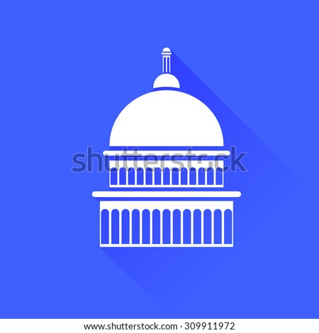 Vector Capitol Icon Isolated on Blue Background. Long Shadow.  - stock vector