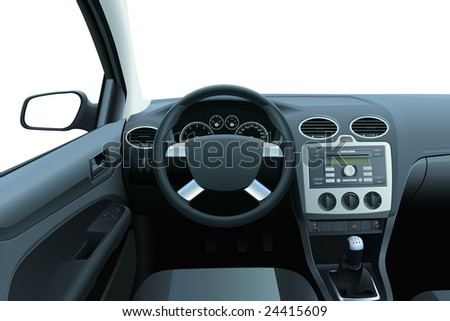 Vector car dashboard and interior