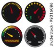 vector car dashboard speedometer icons - stock photo