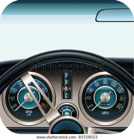 Vector car dashboard square icon - stock vector