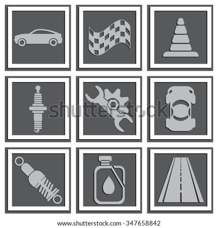Vector car icons. Applique with realistic shadows.