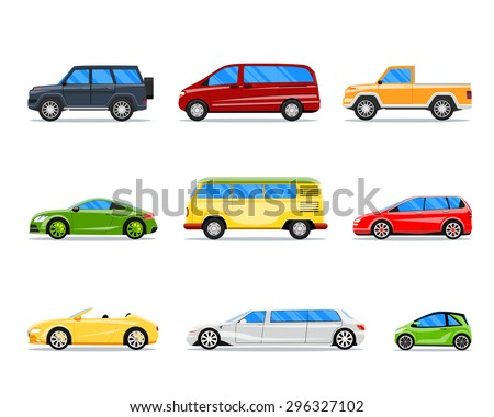 Vector car icons in flat style. Jeep and cabrio, limousine and hatchback, van and sedan illustration - stock vector