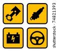 vector car part symbols - stock photo
