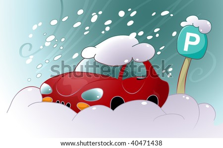 Vector Car Stuck In The Snow - stock vector