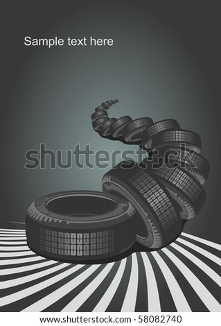 Vector car tire and place for your text. - stock vector