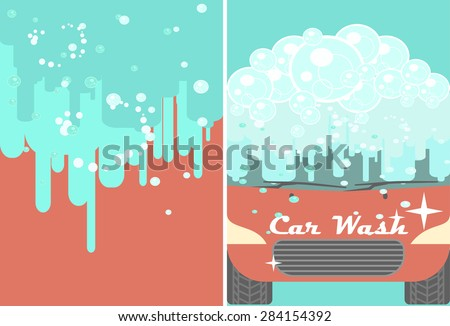 Vector car wash banner for advert. Red automobile with water under automatic bubbles washing. Vehicle cleaning and polish service flyer. Car service poster booklet - stock vector