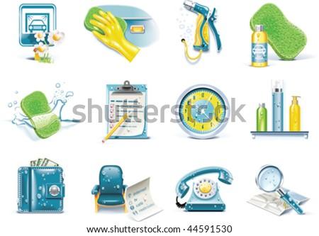 Vector car wash service icon set - stock vector