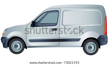 Vector car. White commercial vehicle - delivery van. (simple gradients only, no gradient mesh)